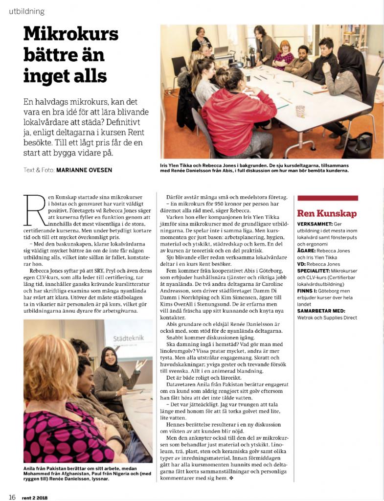 Bild på artikel om hur abis anställda går på kurs i lokalvård